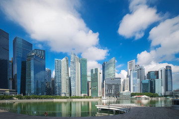Singapore waterfront financial urban area day light view ,blue sky with cloud