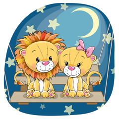 Valentine card with Lovers lions