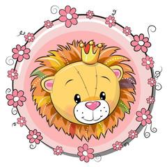 Greeting card cute cartoon Lion