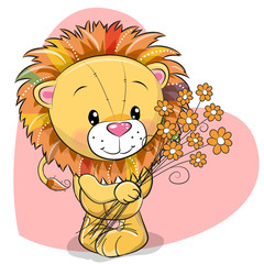 Greeting card cute Lion with flowers