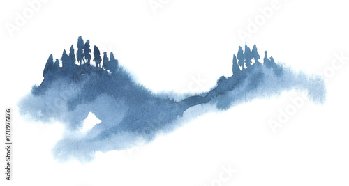 Watercolor illustration isolated on white background. Painting on wet. Blue forest in fog. © Kateryna