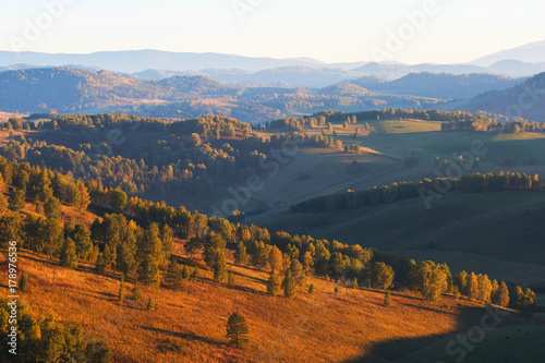 Beauty dawn in the mountains in Altay, Poster
