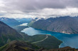 Kings throne hike with a view of Kathleen lake and Louise lake in Kluane national park, Yukon, Canada