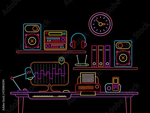 Foto op Plexiglas Abstractie Art Workplace Neon vector illustration