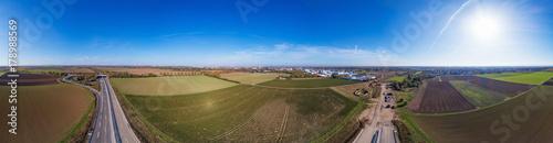 Aluminium Landschappen 360 Grad Panorama über Autobahnneubau in Worms