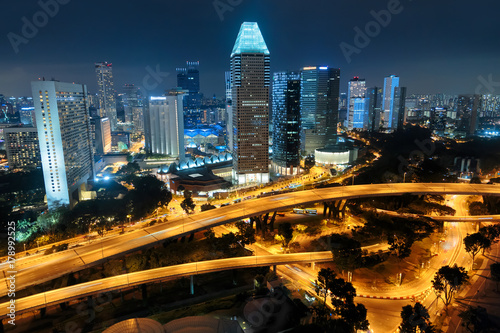 Singapore city skyline. Aerial view at night Poster