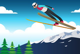Ski Jumping Athlete in Competition Illustration