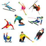 Winter Sports Cliparts Icons Wall Sticker