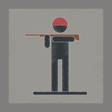 Flat Shading Style Icon Kids Toy Soldier Wall Sticker