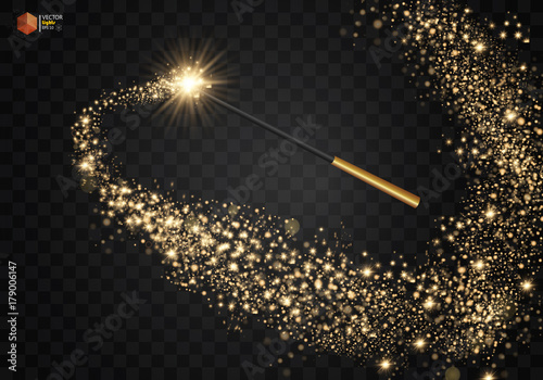 Magic wand with magical sparkle glitter trail. Isolated on transparent background. Vector illustration Eps 10.