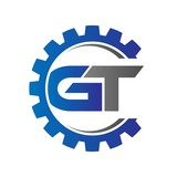 gt initial logo vector with gear blue gray