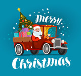 Merry Christmas, greeting card. Happy Santa Claus rides in retro car loaded with gifts. Xmas vector illustration