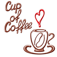 Vector illustration with coffee cup, coffee bean, heart and title. Suitable for cafe, coffee shop, coffee house or poster