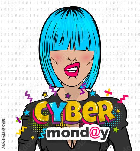 Papiers peints Pop Art Woman pop art computer hacker cyber Monday