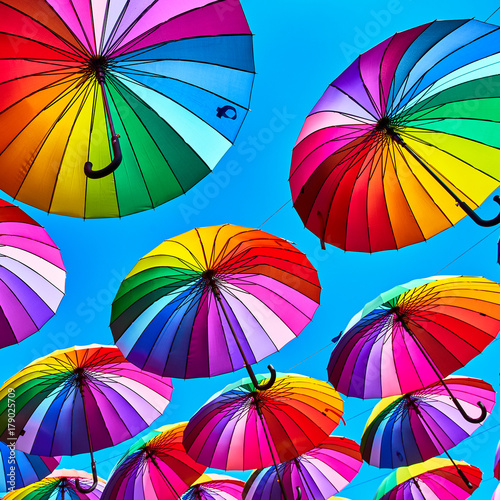 Juliste Multi-colored umbrellas background