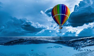 Air balloon in sea