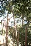 Rope bridge on sunny day