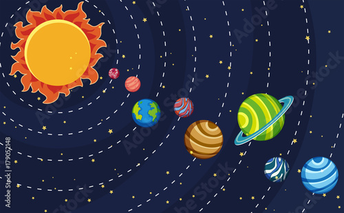 Fototapeta Solar system poster with planets and sun