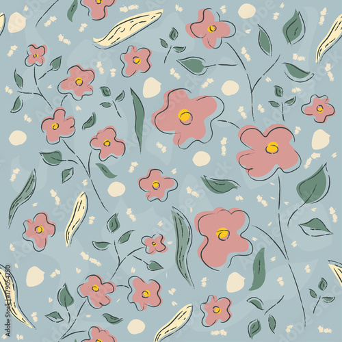 Floral Seamless Pattern. Hand Drawn. - 179054750