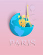 Paper art travel infographic.Paris infographic; welcome to France.Landmarks in global concept, pastel color with paper art style.