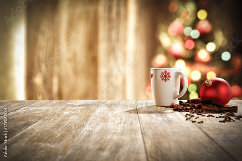 Papiers peints Cafe xmas time and mug on desk