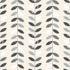 Scandinavian style vector floral geometric seamless pattern. Abstract twigs with leaves with distressed texture in retro colors.