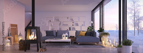 3d rendering. living room with cast iron fireplace in modern loft apartment. © 2mmedia