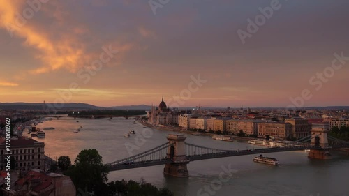 budapest view from above establishing shot of chain bridge and parliament at sunset
