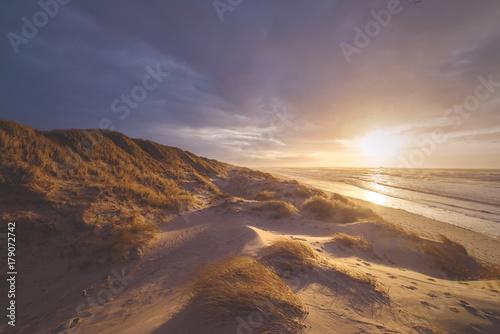 Fotobehang Noordzee Dünen bei Sonnenuntergang an Dänemarks Nordseeküste