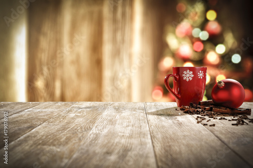 xmas time and mug on desk