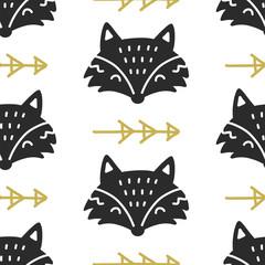 Scandinavian Fox nordic seamless pattern. Hand drawn trendy folk art decoration backdrop