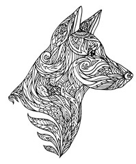 Doodle illustration of a dog head with a tribal pattern. New Year of Dog. Vector element for tattoos, printing on t-shirts, postcards and your design