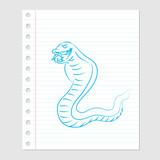 Illustration of Snake Cartoon on paper sheet -Vector illustration - 179079912
