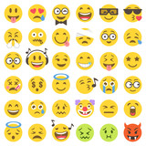 vector flat emoticons set 2