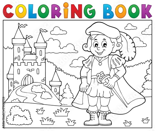 Fotobehang Voor kinderen Coloring book prince and castle 2