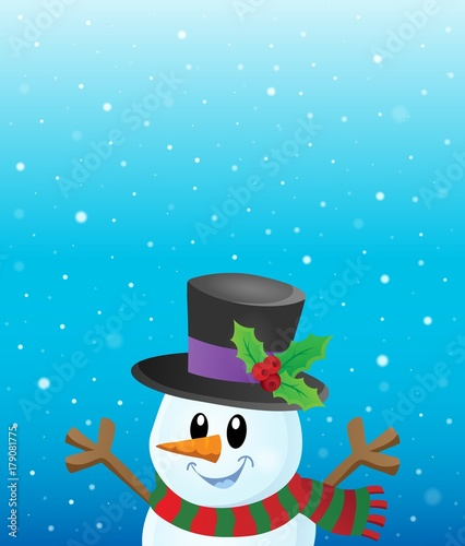 Fotobehang Voor kinderen Lurking snowman in snowy weather theme 1
