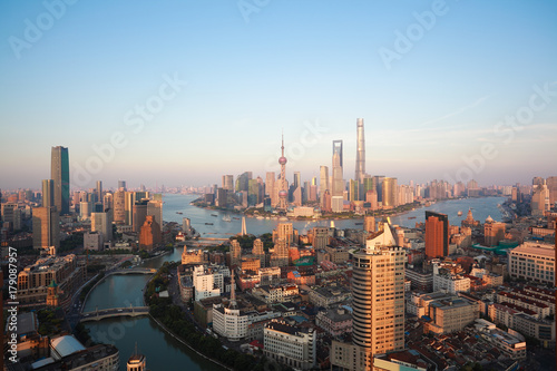 Foto op Canvas Shanghai Aerial photography bird view at Shanghai bund Skyline