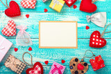 Valentine's day background with blank card and heart shapes on wooden table. Wedding invitation, greeting card for Mother's Day - 179114512