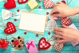 Valentine's day background with heart shapes on wooden table. Beautiful holiday invitation. Mock up for text. Top view. - 179114525