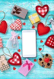 Smart phone mock up with rustic for Valentine's day - 179114588