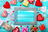 Valentine's day background with heart shapes on wooden table. - 179118183