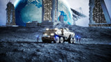 Military car on moon with robots. Moon colony. Earth backround. 3d rendering. - 179118715