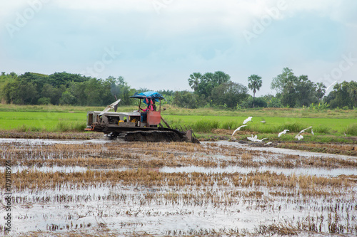 Fotobehang Trekker Farmer in tractor preparing land with seedbed cultivator