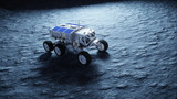 Moon rover on the moon. space expedition. Earth background. 3d rendering. - 179119319