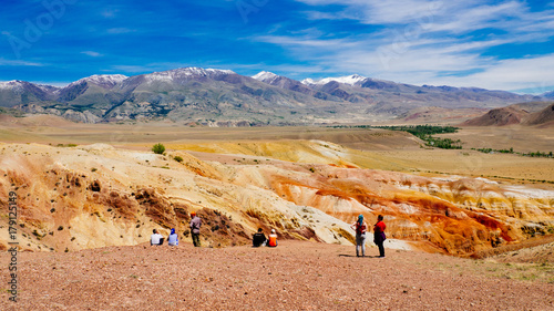 Fotobehang Zalm Kyzyl-Chin Valley (other name is Mars), is a picturesque desert terrain in the Altai Mountains, Russia. It is formed with multi-colored clays, composing the fantastic Martian lanscape.