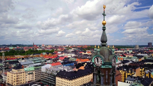 Staande foto Stockholm Panoramic aerial view of The Old Town , Gamla Stan , Stockholm , Sweden.