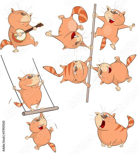 Papiers peints Chambre bébé Set Cartoon Illustration. A Cute Cats for you Design