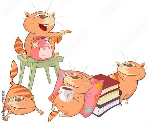 Papiers peints Chambre bébé Illustration of Cute Cats. Cartoon Character