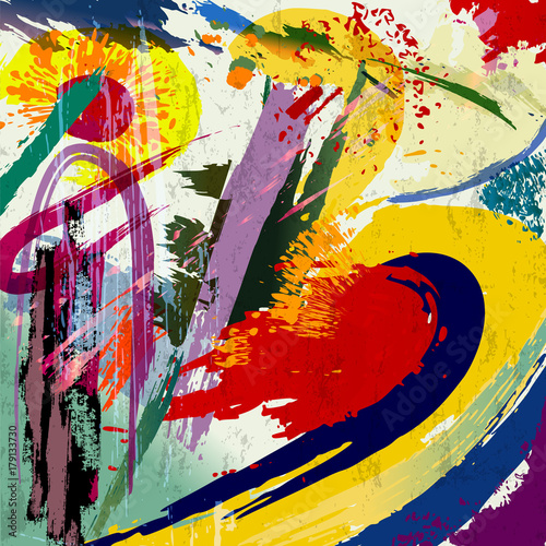 Fotobehang Abstract met Penseelstreken abstract background composition, with paint strokes and splashes