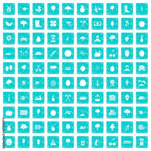 Keuken foto achterwand Vlinders in Grunge 100 agriculture icons set grunge blue